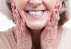 woman wearing dentures